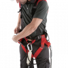 Roof safety harness and restraint lanyard