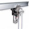 Mobile trolley works in suspension IRATA abseiling rail