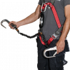 Safety harness with shock absorbing lanyard