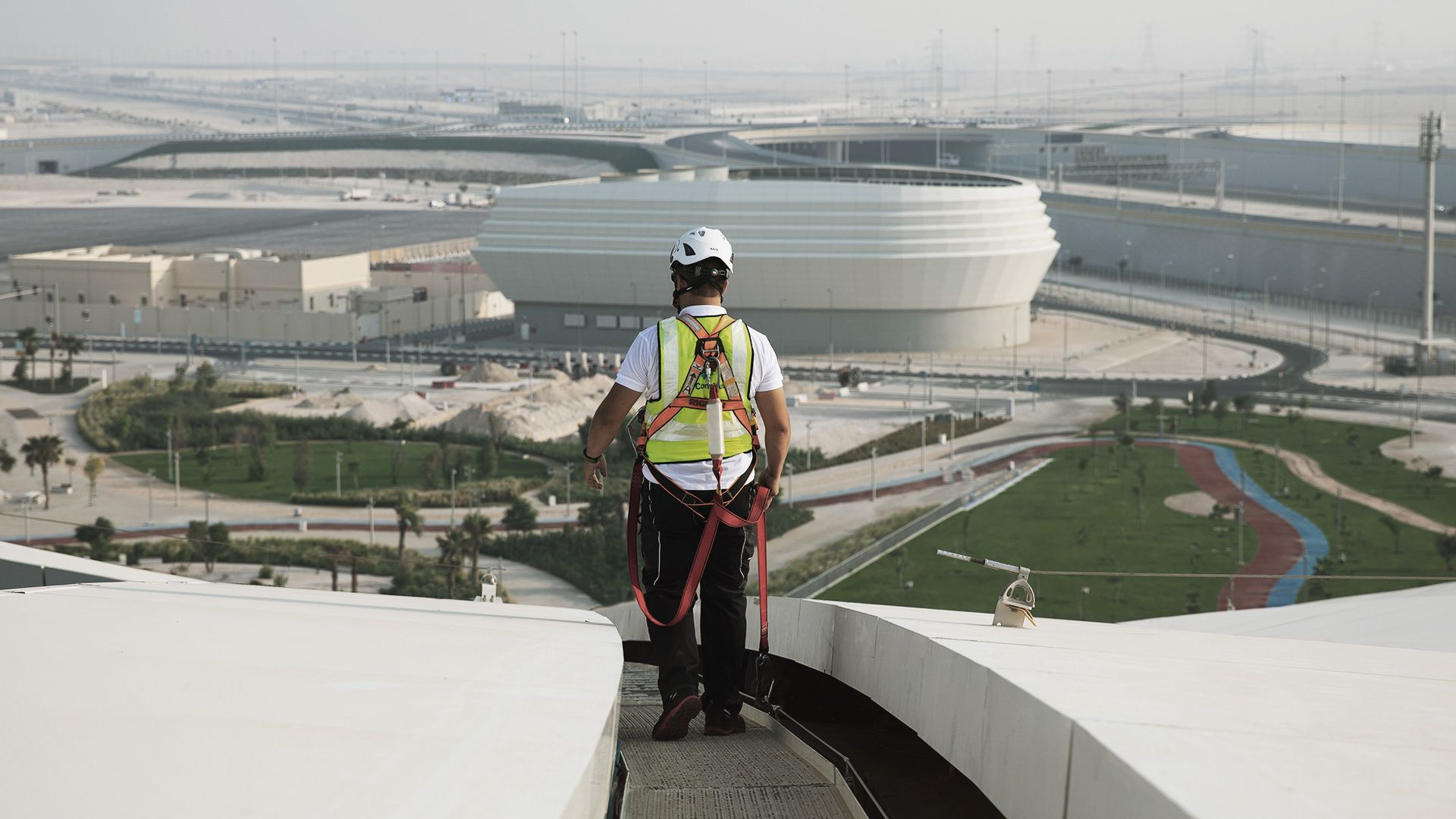 Set of safety equipments on an architectural stadium in Qatar