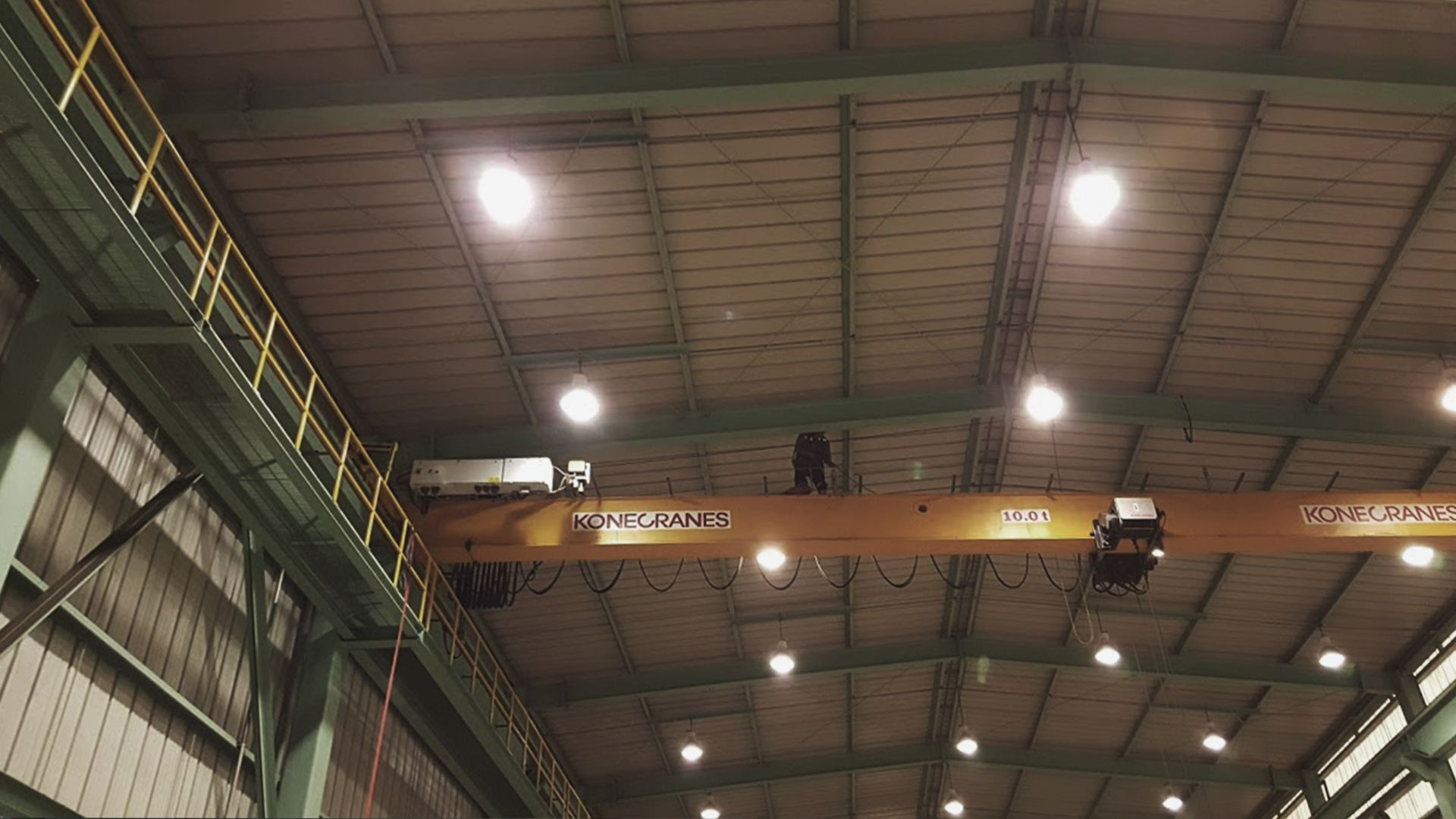 Securing cranes on steel factory