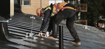 Fall arrest system on standing seam roof BS8610