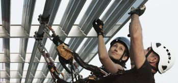 rope access by rail for facade maintenance
